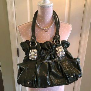 Kathy Van Zeeland Green Faux Leather Bag w/ Bling